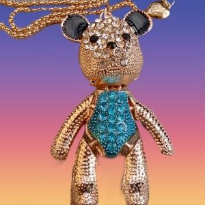 Cute Bear W/flexible head, arms and legs Necklace